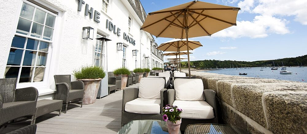 view of the sea terrace at The Idle Rocks Hotel, St Mawes