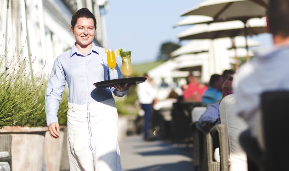 Smiling waitress at the Idle Rocks Restaurnat