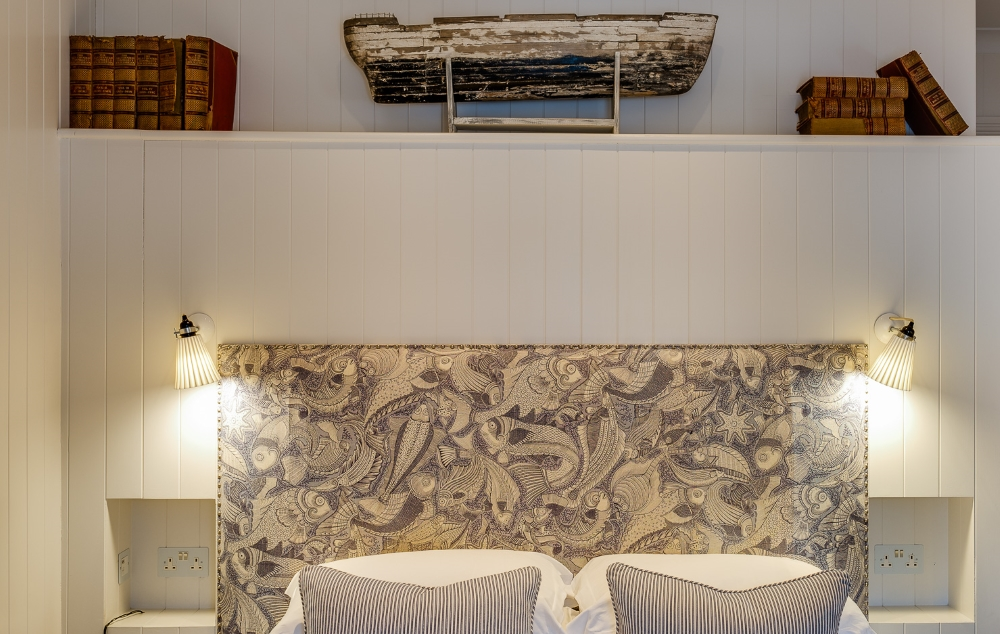 view of the bed and decor at The Idle Rocks Hotel, St Mawes