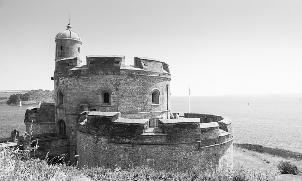 black and white view of st mawes castle