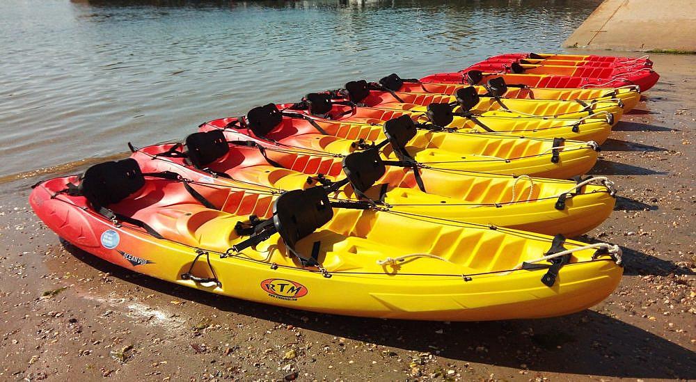 Kayaking in St Mawes - view of kayaks