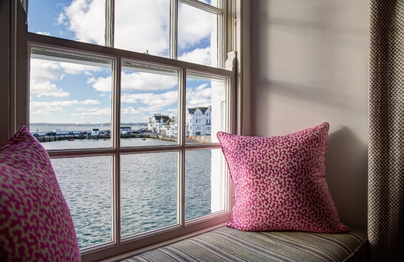 a view of st mawes harbour from the window seat at room 1 at The Idle Rocks Hotel, St Mawes