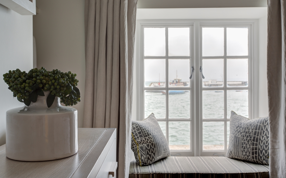 a view of the harbour from the window seat in room 19 at The Idle Rocks Hotel, St Mawes