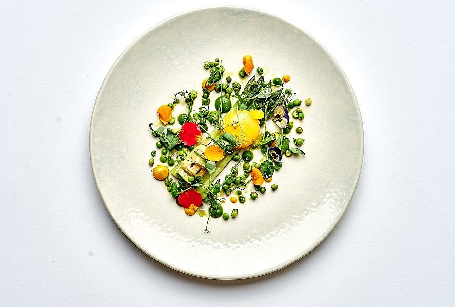 Dinner Menu - Fine Dining in St Mawes - asparagus dish on a white plate