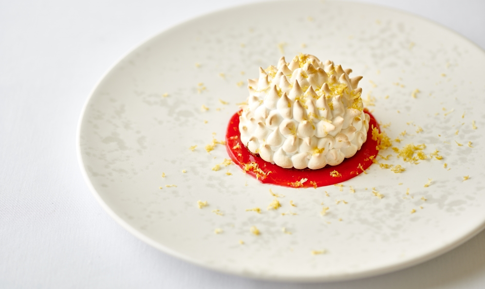 Dinner Menu - Fine Dining in St Mawes - Close up of baked alaska