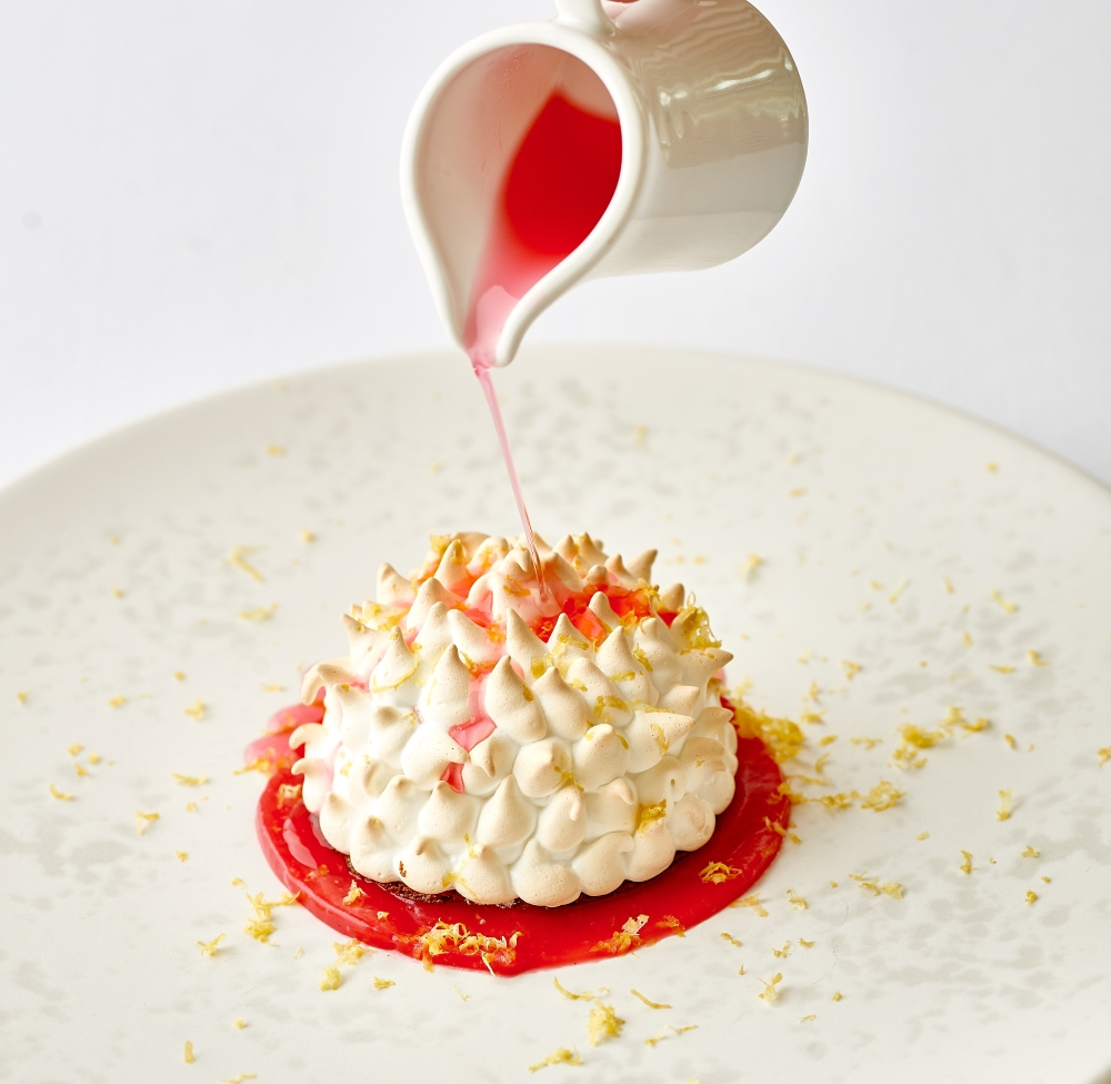 Dinner Menu - Fine Dining in St Mawes - an individual baked alaska with pouring sauce