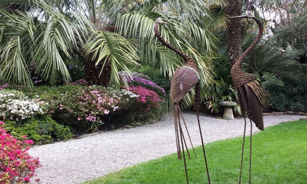 metal bird sculptures at lamorran gardens