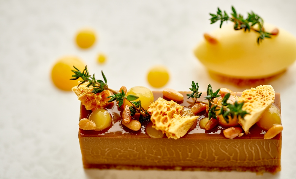 Dinner Menu - Fine Dining in St Mawes - Close up of muscovado tart dish