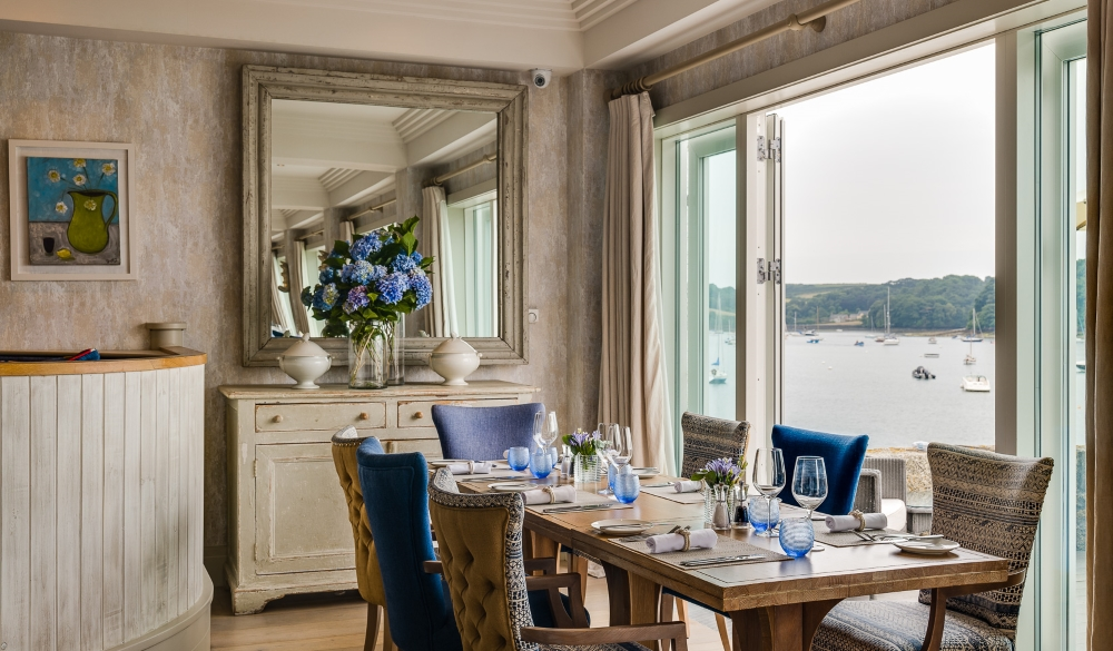 View of the sea from the Restaurant, at The Idle Rocks Hotel, St Mawes