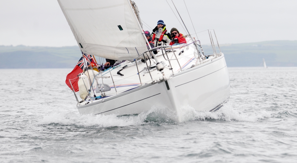 Sailing yacht on sea