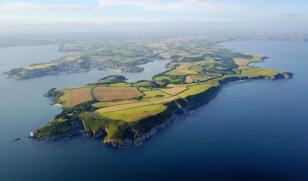 view of the Roseland Penisula and St mawes from above