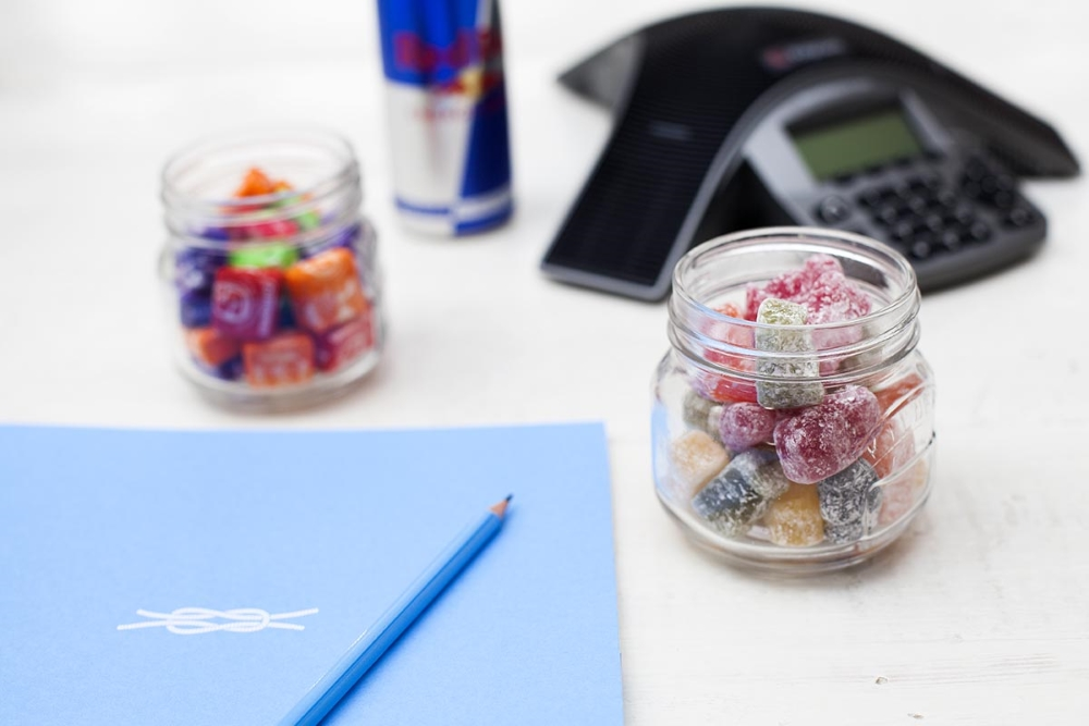 pen, paer, sweets and conference phone